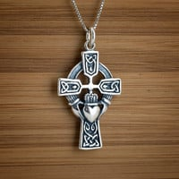 Celtic Claddagh Cross - STERLING SILVER - (Just the pendant, chains are sold separately.)
