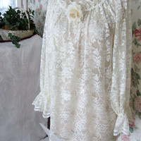 Shabby Chic Clothes Peasant Top Women Large Ivory Lace Blouse (Cami not included) Lace Top
