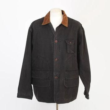 Vintage 90s Hunting JACKET / 1990s Polo RALPH LAUREN Men's Black Canvas Field Coat xl