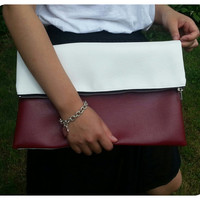 Burgundy and White Clutch- Color block foldover
