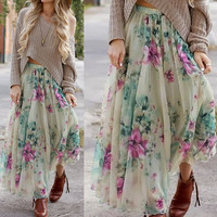 Floral Printed Layered Maxi Skirt