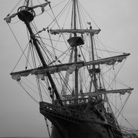 Spanish Ship Galleon 8X10 photo, El Galeon Andalucia, Pirate Ship, Nautical decor, Nautical Art Photography, Black and White Photography