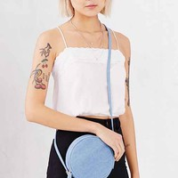 Silence + Noise Round Collar Pin Denim Crossbody Bag