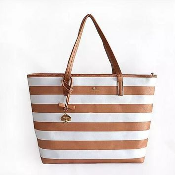 Fashion Kate Spade Women Shopping Leather Tote Handbag Shoulder Bag Brown&White Stripe