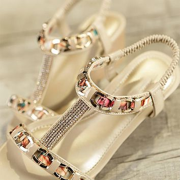 B| Chicloth Rhinestone Date Chain Hollow-out Women Summer Wedge Sandals