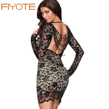 FIYOTE New Winter Lady Print 2015 women's casual Sexy Latest Fashion Trend Mini Dress LC2783 Black Thrilling Beaded Lace Dress
