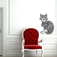 Wall Decal Art Decor Decals Sticker Cat Animal Pinstripes Grace Flowers (M250)