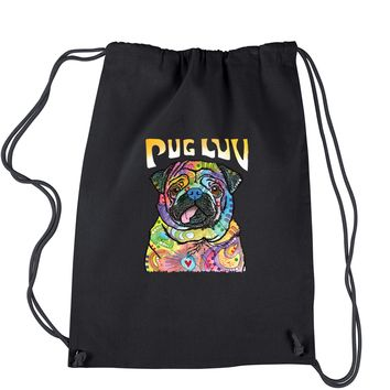 Pug Luv Puppy Love Neon Drawstring Backpack