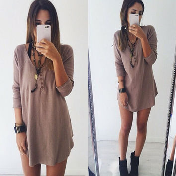 Fashion Solid color loose beach dress