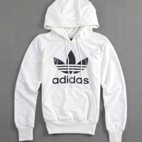 """Adidas"" Autumn Winter Classic Fashion Women Men Casual Sweatshirt Hooded Pullover Top Sweater White"