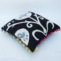 """Woolen Embroidered Black Indian Pillow Case Handcrafted Pillows Traditional Suzani Artwork Hippie Stylish Turkish Designs Cotton Pillows 16"""""""