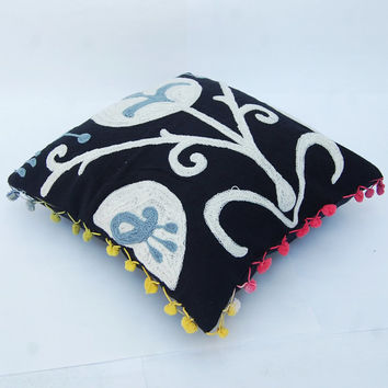 Woolen Embroidered Black Indian Pillow Case Handcrafted Pillows Traditional Suzani Artwork Hippie Stylish Turkish Designs Cotton Pillows 16""