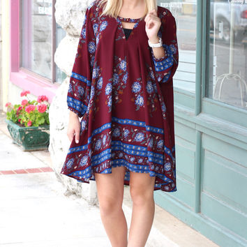 Free Fallin' Floral Border Keyhole Tunic Dress {Burgundy Mix}