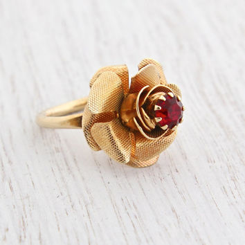 Vintage Rhinestone Rose Ring - Retro Signed Sarah Coventry 1970s Gold Tone Adjustable Flower Costume Jewelry / Dimensional Blooming Floral