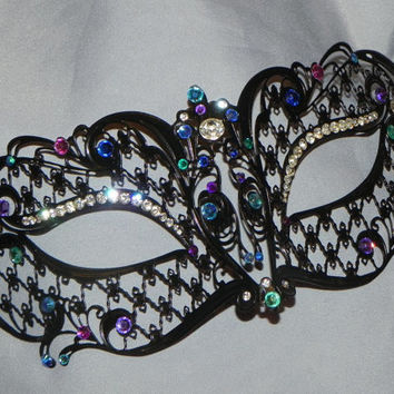 Metallic Masquerade Mask with Teal, Turquoise, Purple, Blue and Lattice Accents