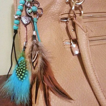 Purse Charm, Purse Clip, Saddle Charm, Saddle Clip, Boho Feather Charm