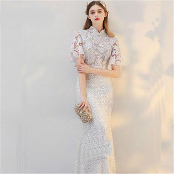 White Stand Collar Short Sleeve Appliques Bling Sequined Evening Dresses Floor Length Trumpet Formal Dress