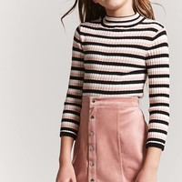 Girls Stripe Mock Neck Top (Kids)