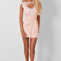 Carina Peach Lace Playsuit | Pink Boutique