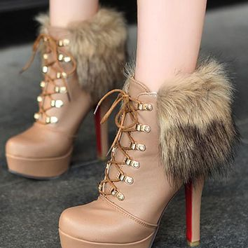 New Women Brown Round Toe Stiletto Fur Lace-up Fashion Boots