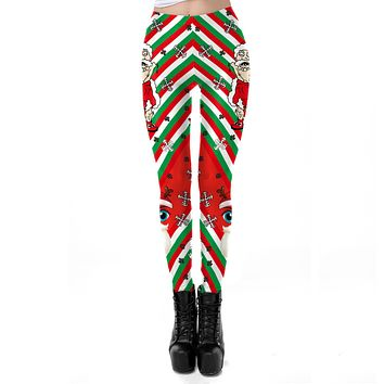Santa Claus Print Women Skinny Christmas Sports Leggings
