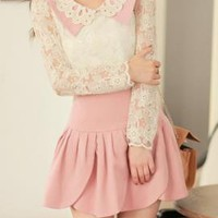 Fanciful Connotation Scalloped Turn Collar Lace Blouse   Sincerely Sweet Boutique