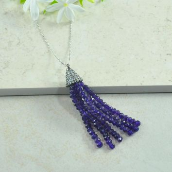 Gemstone Tassel Necklace in Sterling Silver