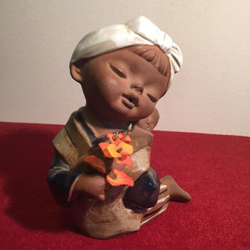 Large Japanese Clay Pottery Asian Girl - 1970's Mid Century Figurine - Made in Japan by UCTCI