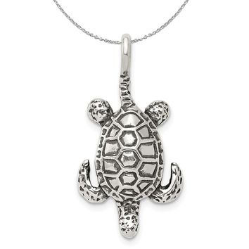 Sterling Silver Antiqued Sea Turtle Necklace