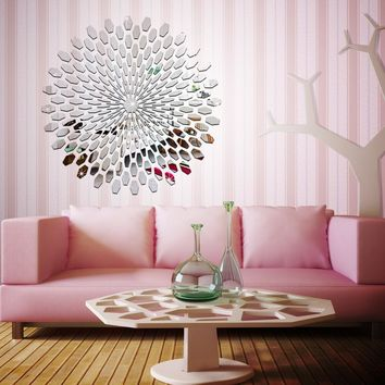 Acrylic 3D Mirror Wall Stickers Sunflower Sticker Decors for Family Decoration Mordern Adesivo De Parede Art Decals