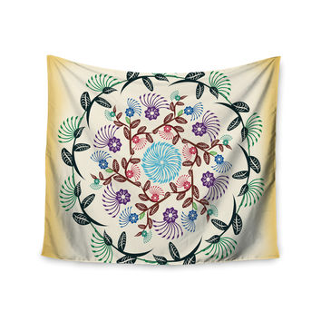 "Famenxt ""Nature Mandala"" Yellow Multicolor Wall Tapestry"