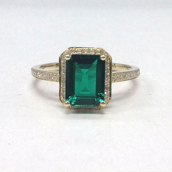 Emerald Engagement Ring 14K Yellow Gold!Diamond Wedding Bridal Ring,6x8mm Emerald Cut Treated Green Emerald,Halo,Can make Matching Band