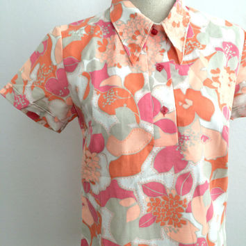 70s shirt, orange 70s shirt, flower shirt, 1970s shirt, 70's unisex shirt, that 70s show shirt, colorful shirts, shirt men,70's collar shirt
