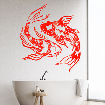 Vinyl Wall Decal Koi Karp Japanese Fish Asian Style Yin Yang Stickers Unique Gift (1425ig)