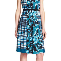 Pleated dress with self tie - Adrianna Papell