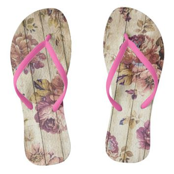 Wood and flowers flip flops