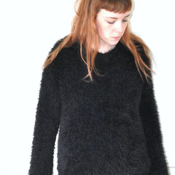 early 90s grunge fuzzy black sweater