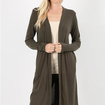 """Long Line Open Cardigan with Side Pockets-36"""", Dark Olive"""