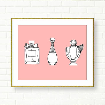 Perfume Art Print, Pink Black, Fashion Illustration, French Decor, Pastel, Perfume Set, Vanity, Paris, Glam Bathroom, Guerlain,Dior, Rose