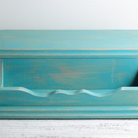 Turquoise Wood Desk Accessories Storage Box Tray Teal Blue Rustic Shabby Distressed Cottage Beach Home Decor