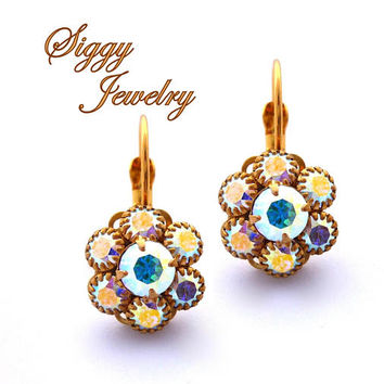 Swarovski Crystal Flower Earrings, Multi Stone Cluster, AB Iridescent Shimmer, Gold Tone Finish, Drop Lever Back, FREE SHIPPING
