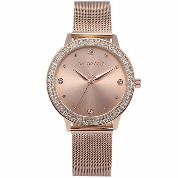 Taylor Cole Fashion Slim Crystal Rose Gold Relogio Feminino Quartz Steel Band Bracelet Jewelry Women Ladies Dress Watches /TC071