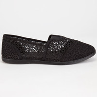 Soda Womens Crochet Stretch Slip-On Shoes Black  In Sizes