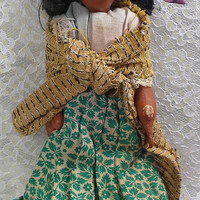 Oil Cloth & Wood Doll, Ethnic South American Mexican Doll, Vintage 1950s Rustic Mexico Girl Doll, Folk Art Traditional Green Dress Toy D225