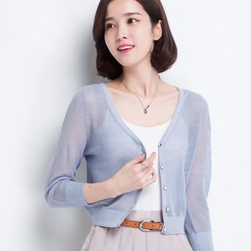 Sweater cardigan 2016 spring and summer V-neck short design thin loose cutout cape sweater outerwear female
