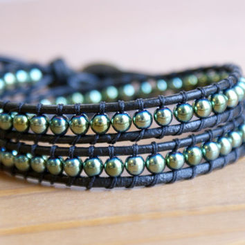 Hematite Bohemian beaded leather wrap bracelet, good luck elephant, hipster, double wrap, green gemstone, Skinny, lucky charm, gift idea