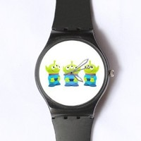 Custom TOY STORY Little Green Man Watches Classic Black Plastic Watch WT-0826