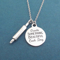 Create SOMETHING BEAUTIFUL Each Day, Baking, Rolling pin, Silver, Necklace, Birthday, Lovers, Best friends, Gift, Jewelry