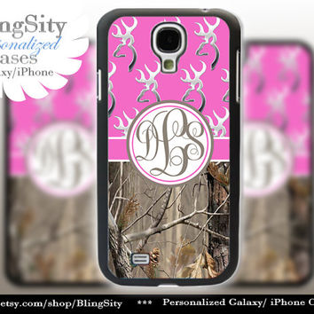 Monogram Galaxy S4 case S5 Browning Hot Pink Real Tree Camo Deer Personalized RealTree Samsung Galaxy S3 Case Note 2 3 Cover