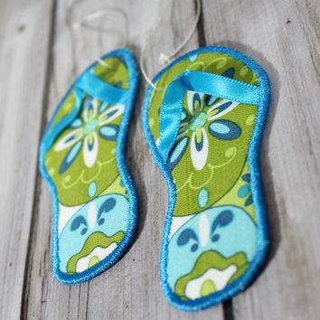 Flip Flop Christmas Ornament Beach Theme Coastal Decor Set of Two made with Blue and Green Floral Fabric and a Teal Blue Embroidery Edge